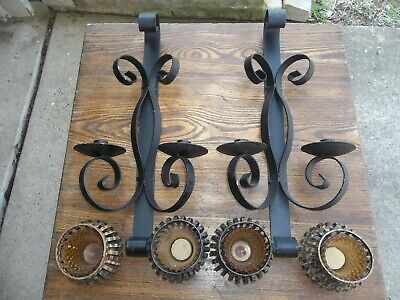 Pair Vintage Gothic Wrought Iron Metal 2 Candle Wall Sconces W/ Candle Inserts • 78.19£