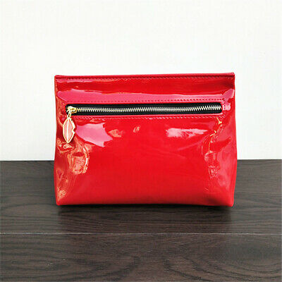 AU14.99 • Buy YSL Beauty Red Faux Patent Leather Makeup Cosmetics Bag, Travel Toiletry Pouch