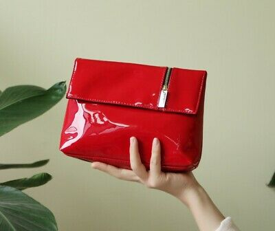 AU19.99 • Buy YSL Beauty Red Faux Patent Leather Makeup Cosmetics Bag / Prestige Pouch, NEW!