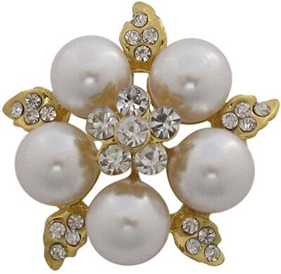 £8.99 • Buy Gold Tone Chunky Pearl & Crystal Flower Brooch Wedding Cake Decoration Bouquet
