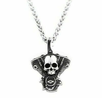 Motorcycle Chain Mens Club Skull Biker Bicycle Stainless Steel Pendant Necklace • 6.74£