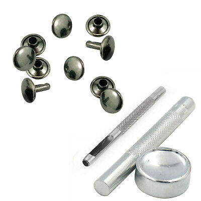 15mm Double Cap Rivet Silver 3 Set Of Hand Press Setting Tool For DIY Leather • 12.35£