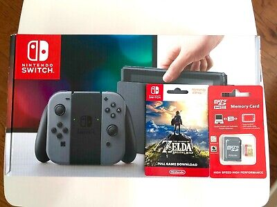 $385 • Buy New Nintendo Switch 32GB Console (with Gray Joy-Cons) Zelda + Memory Card Bundle
