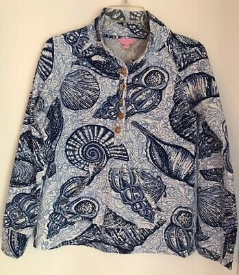 $24.99 • Buy Lilly Pulitzer Seashell And Fish Print Skipper Button Up Pull Over Size Small
