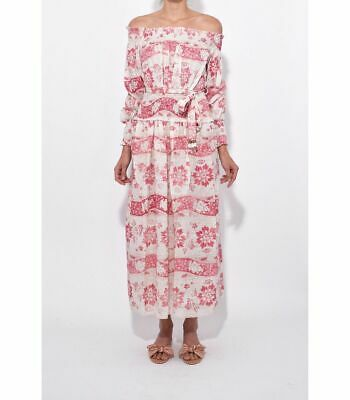 $298 • Buy Zimmermann Floral Bayou Washed Long Dress In Ivory/Red Size 1 $745