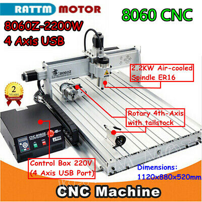 $2600 • Buy 4 Axis 2200W 8060 USB Mach3 Engraver Drilling CNC Router Milling Machine 220V