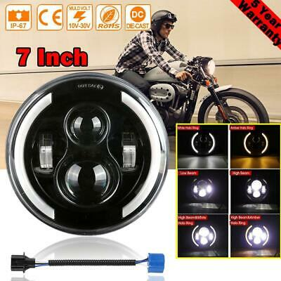 AU47.17 • Buy 7  LED Projector Headlight  Angel Eyes For Harley Touring Motorcycle Round