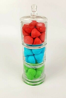 Home Collection 3 Tier Decorative Glass Sweet Candy Buffet Jar 29cm X 10.5cm • 17.99£