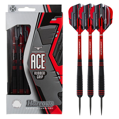 Harrows Ace Steel Tip Darts - Unique Non Slip Rubber - 20g 22g 24g Or 26g • 12.95£