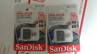 $10 • Buy (2) Sandisk Micro SD Card With Adapter Ultra Plus Memory Card 16GB, 80 MB/s