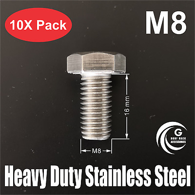 AU12.95 • Buy Stainless Steel Hex Set Screw M8x16mm Tread Roof Rack Awning Accessories BoltX10