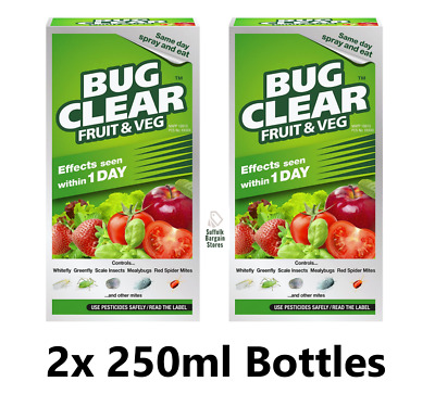 £19.98 • Buy 2x FRUIT & VEG Bug Clear Insecticide Killer White/Green Fly 250ml Concentrate