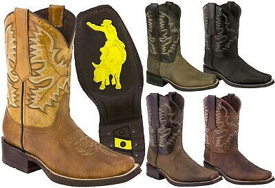 $68.99 • Buy Mens Western Cowboy Boots Square Toe Genuine Leather Classic Rodeo Botas