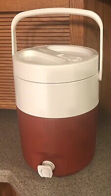$9.99 • Buy Brown / Dk Red White Coleman 2 Gallon Water Beverage Cooler Jug 5592 A