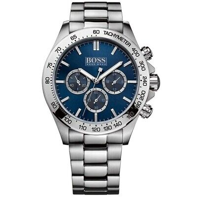 New Hugo Boss Hb1512963 Ikon Blue & Silver Genuine Men's Watch Chronograph • 108£