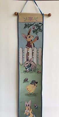 Spring Bunnies Tapestry Bell Pull Wall Hanger Spring Easter Decor • 13.91£