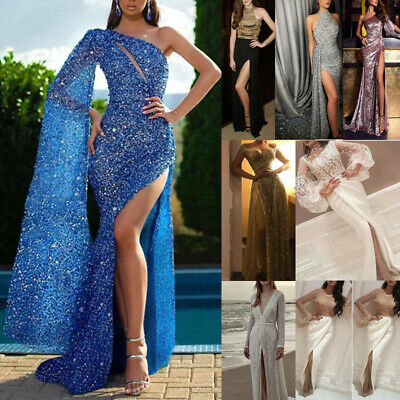 AU29.25 • Buy Womens Sexy Slit Maxi Dress Evening Party Wedding Cocktail Prom Formal Ball Gown