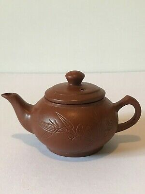 AU75 • Buy  Chinese Yixing Zisha Clay Teapot Hand Carved Birds And Bamboo Leaves