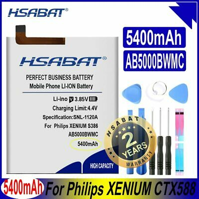 $33.54 • Buy HSABAT AB5000BWMC 5400mAh Top Capacity Battery For Philips XENIUM CTX588 S386