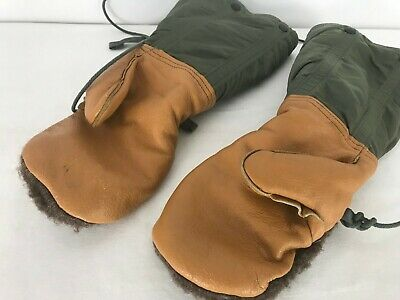$28 • Buy Military Mitten Set Flyer's, Size Medium, Includes Leather Shell And Wool Insert