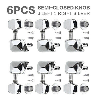 $10.88 • Buy Silver Electric Acoustic Guitar Tuners Machine Heads Tuning Pegs Keys 3R3L US
