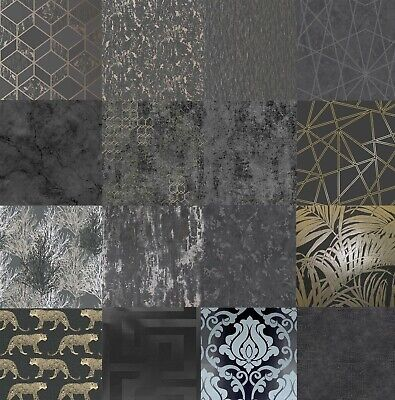 Black Dark Wallpaper Various Designs Feature Glitter Metallic Geometric Shiny  • 9.99£