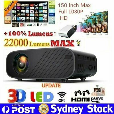 AU150.99 • Buy 22000 Lumen WiFi Projector 1080P 4K Mobile Phone Same Screen Home Theater Cinema