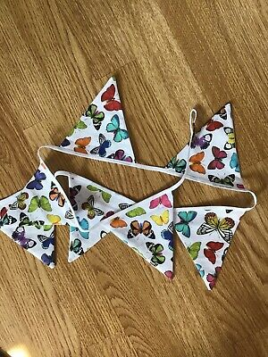 Handmade Bunting.Butterfly  1 METER Approx (7 FLAGS) • 5£
