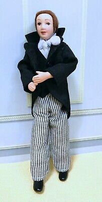 $ CDN31.56 • Buy Dollhouse Miniature Porcelain Male Doll Dressed In Black Jacket