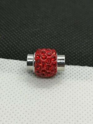 Red Rhinestone Kumihimo Bracelet Leather Cord 16x12mm Magnetic Clasp (LC 28) • 3.30£