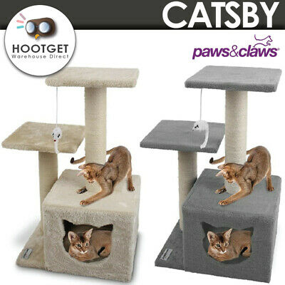 AU39.49 • Buy Hideaway Cat Tree Scratching Tower With Toy Double Platform Post Sisal Pole