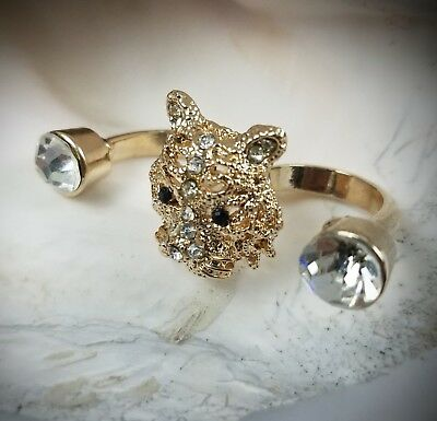 $ CDN17.12 • Buy Double Finger Ring Tiger Cup White Crystal Size 5 1/2 6