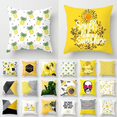 18  Yellow Polyester Pillow Case Sofa Car Waist Throw Cushion Cover Home Decor • 2.69£