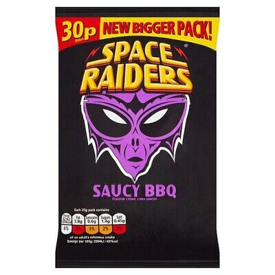 Space Raiders Saucy BBQ Flavour Cosmic Corn Snacks 25 Case Of 36 • 14.99£