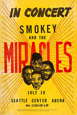 $16.46 • Buy SMOKEY ROBINSON & THE MIRACLES - Seattle 60s-70s Music Concert Poster Art
