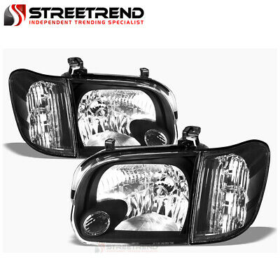$144.40 • Buy For 2005-2006 Tundra Double Cab/07 Sequoia Black Clear Headlights Signal Corner