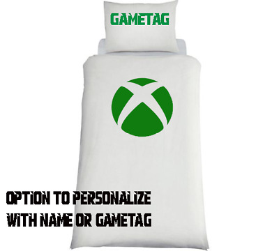 Xbox Themed Console Duvet Cover & Pillows Bedding Set Personalised **WHITE** • 32.99£