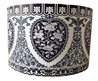 Lace Pattern Lampshade  Made UK Drum Lamp Ceiling Blue Cream Shabby Chic • 17.99£