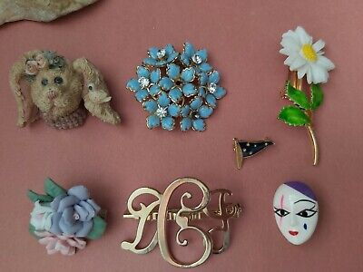 $ CDN18 • Buy Vintage Brooches Lot Bunny Flowers Mask