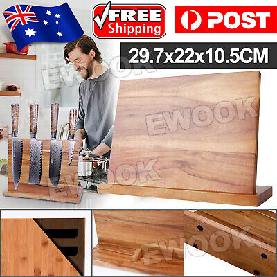 AU27.95 • Buy Magnetic Knife Cutlery Holder Bamboo Storage Stand Rack Block Kitchen Tool AU