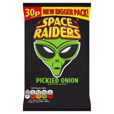 Space Raiders Pickled Onion Flavour Cosmic Corn Snacks 25g Case Of 36 • 14.99£