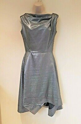 £200 • Buy Vivienne Westwood Anglomania Silver Fit And Flare Asymmetric Dress Size 42 UK 10