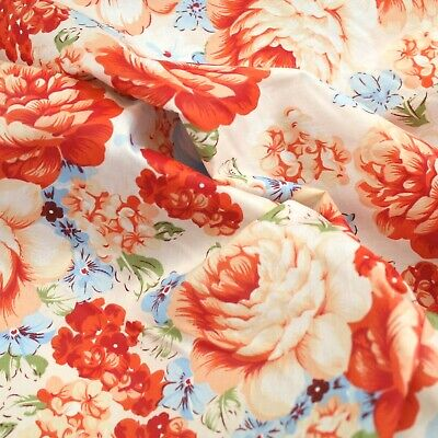 Cabbage Roses And Flowers 100% Cotton Fabric Sold By The Meter 63  Width SALE • 5.50£