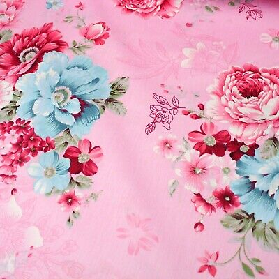 Cabbage Rose Ribbon 100% Cotton Fabric Sold By The Meter 63  Super Width  • 5.50£