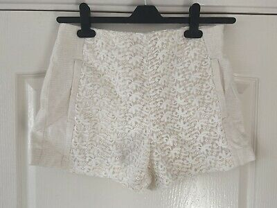 ZARA Basic Women's White Lace Summer Shorts - Size Medium • 14£