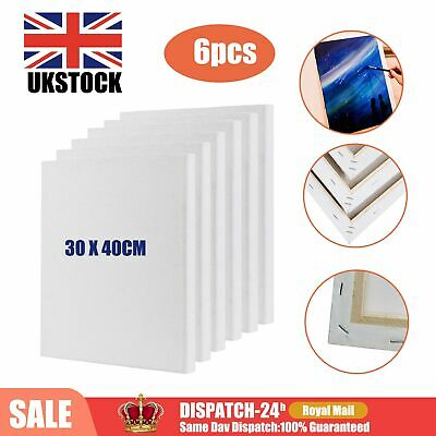 £12.99 • Buy 6 Pack 30 X 40cm Blank Plain Stretched Painting Art Acrylic Canvas