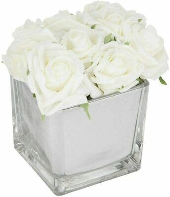 White Roses In Mirror Cube Artificial Plant Hallway, Bedroom, Gift (Home Decor) • 214.99£