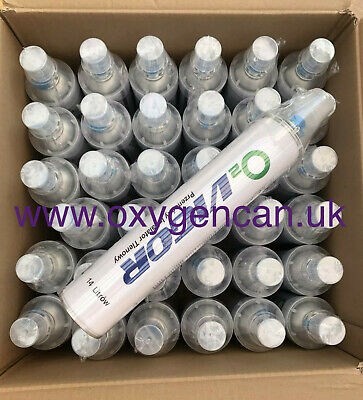 36x PURE OXYGEN CAN 14 L 99%  -with A Hygienic Cover Cap-Open & Attach As A Mask • 572£