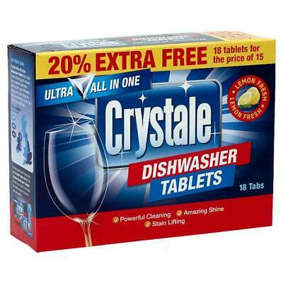 Crystale All-in-One Dishwasher Tablets, 18 Tabs X 7 (126 Tabs) BULK • 13.99£