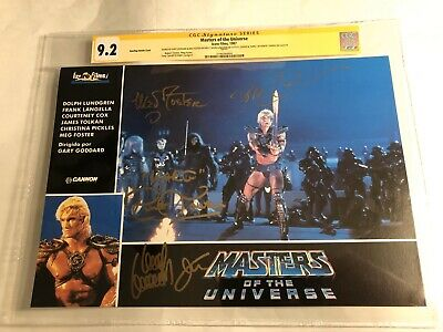 $675 • Buy CGC 9.2 SS Masters Of The Universe Lobby Card Signed By Lundgren +3 MOTU 9x13